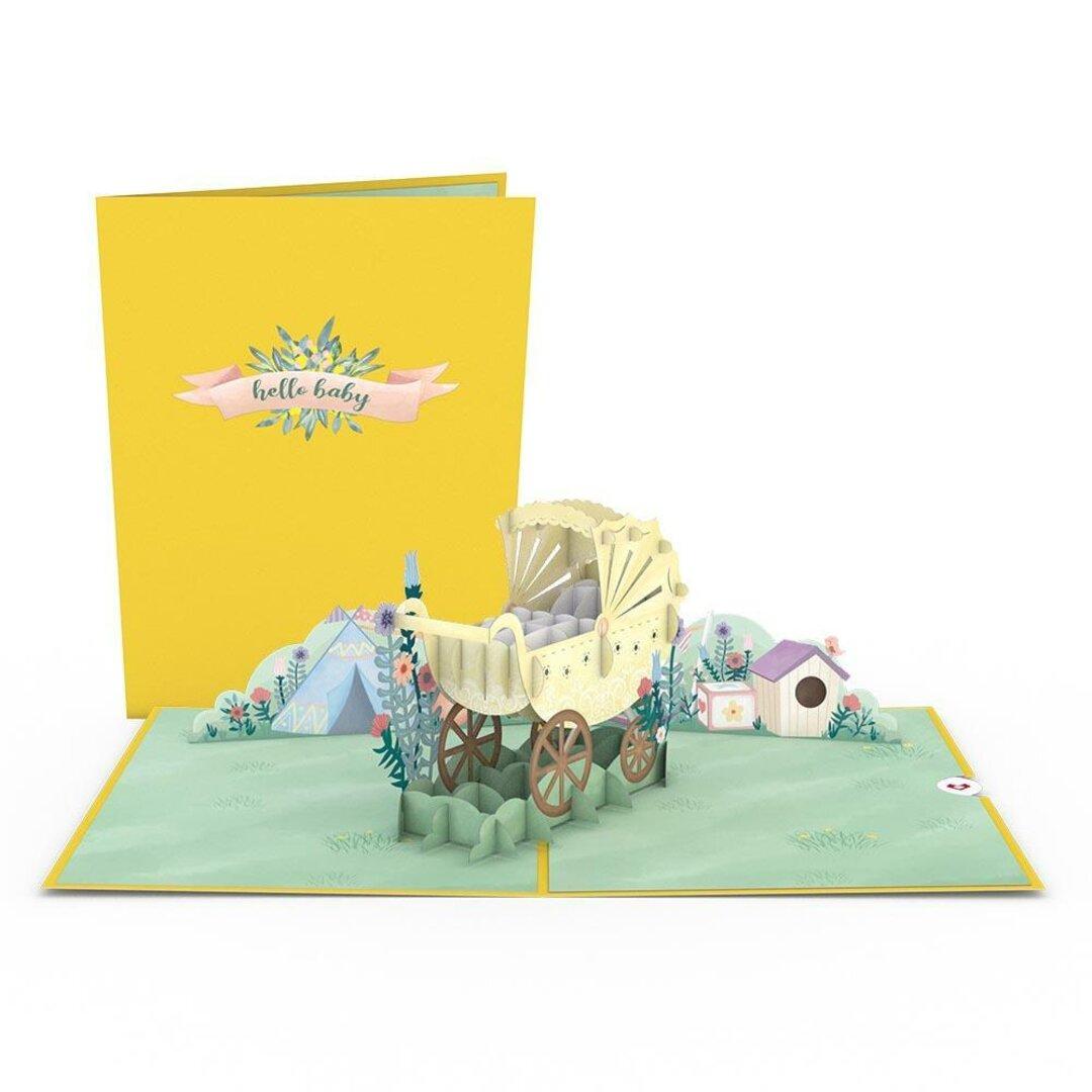 ポップアップグリーティングカード Yellow Baby Carriage