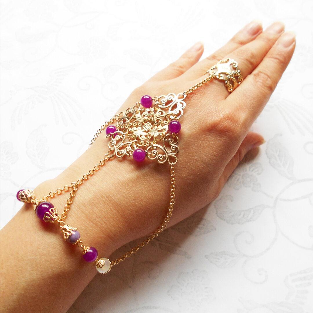 手甲飾り『ジプシーの踊り子』【赤紫】