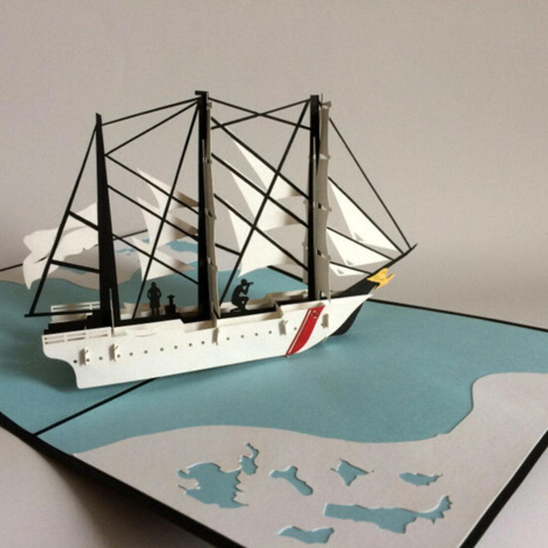 手作り切り紙ポップアップカード 立体カードホワイト帆前船 帆船