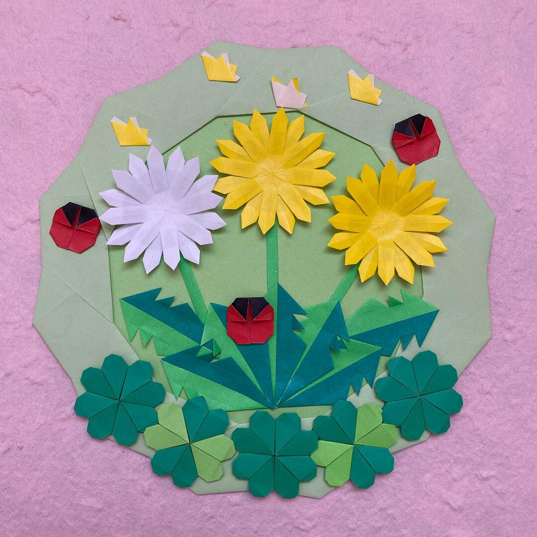 折り紙春リース*たんぽぽとクローバー