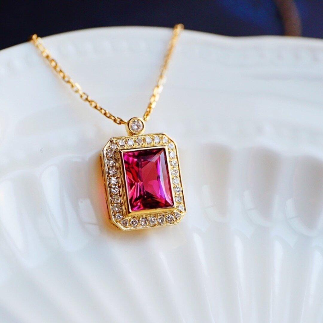 「高貴・女王」K18YG 天然赤トルマリン 天然ダイヤモンド ネックレス