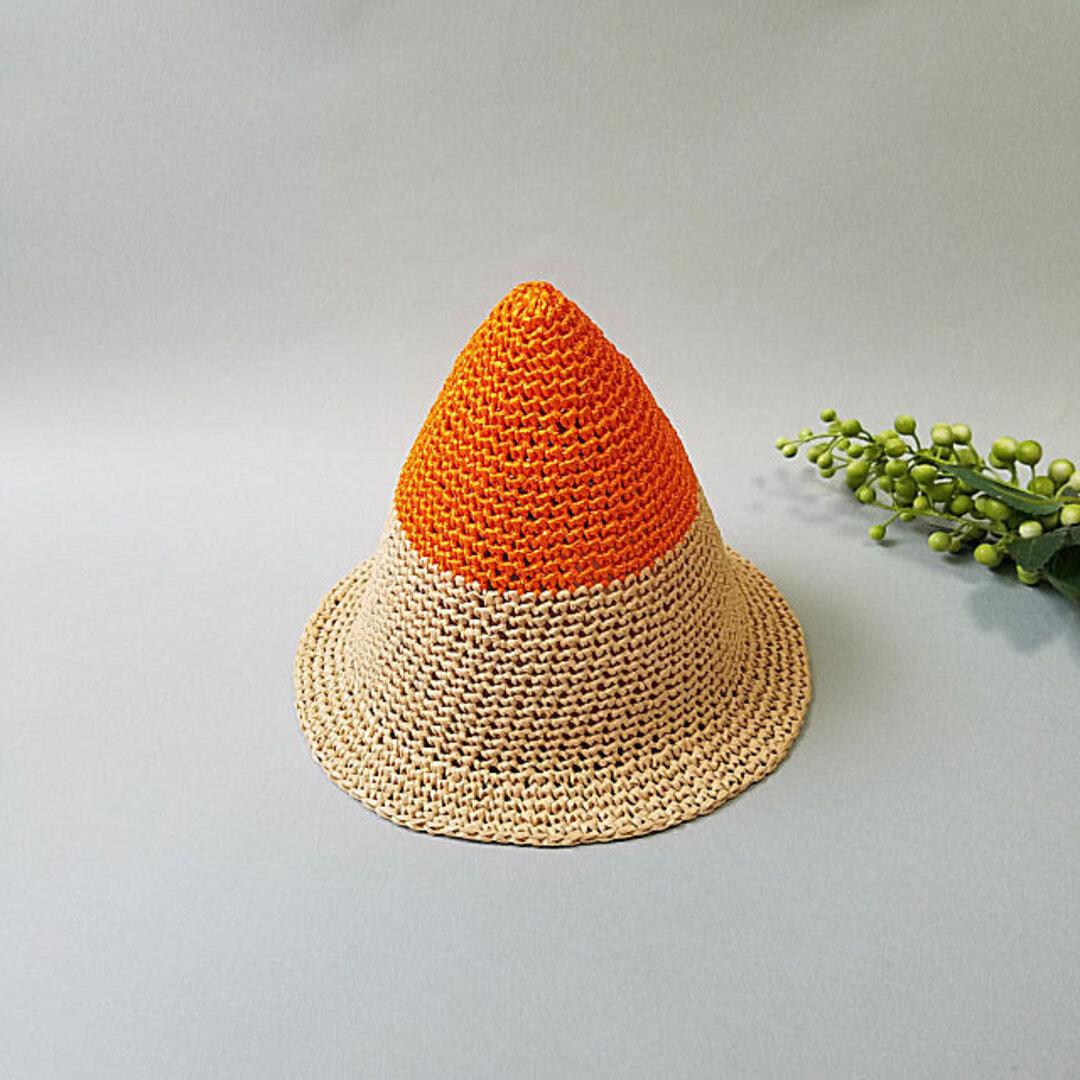 とんがり麦わら帽子L(オレンジ)
