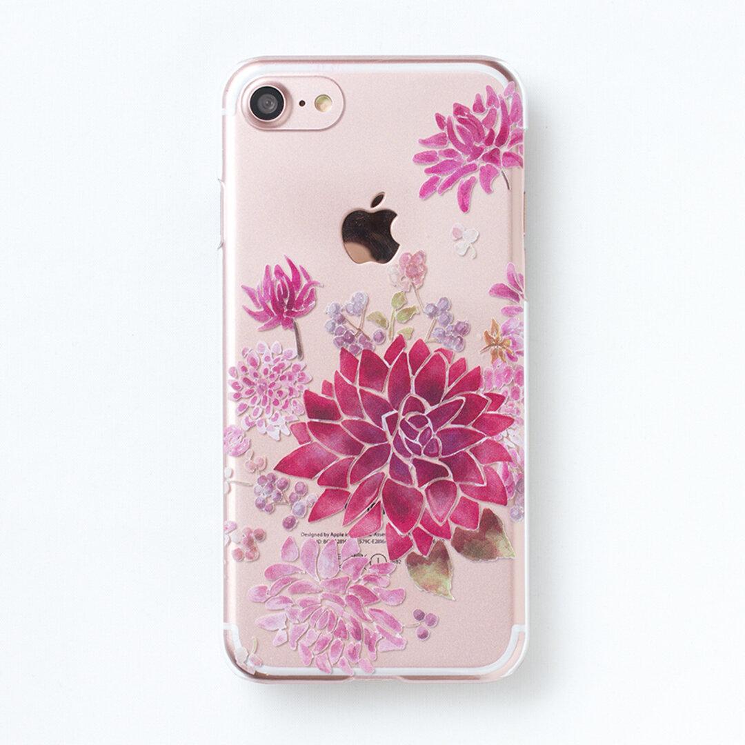 ダリアピンクベージュ  スマホケース アンドロイド クリア  iPhone XPERIA GALAXY AQUOS Google Pixel XZ3 iPhone13 Pro MAX 全機種対応 花柄