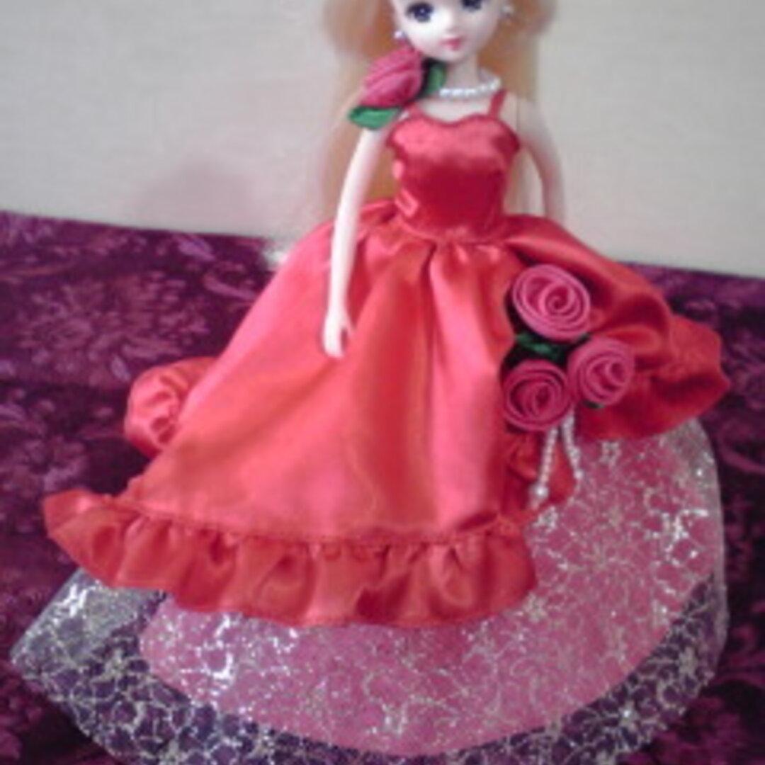 リカちゃんのお姫様ドレス(赤)パール飾り付き 送料無料♪
