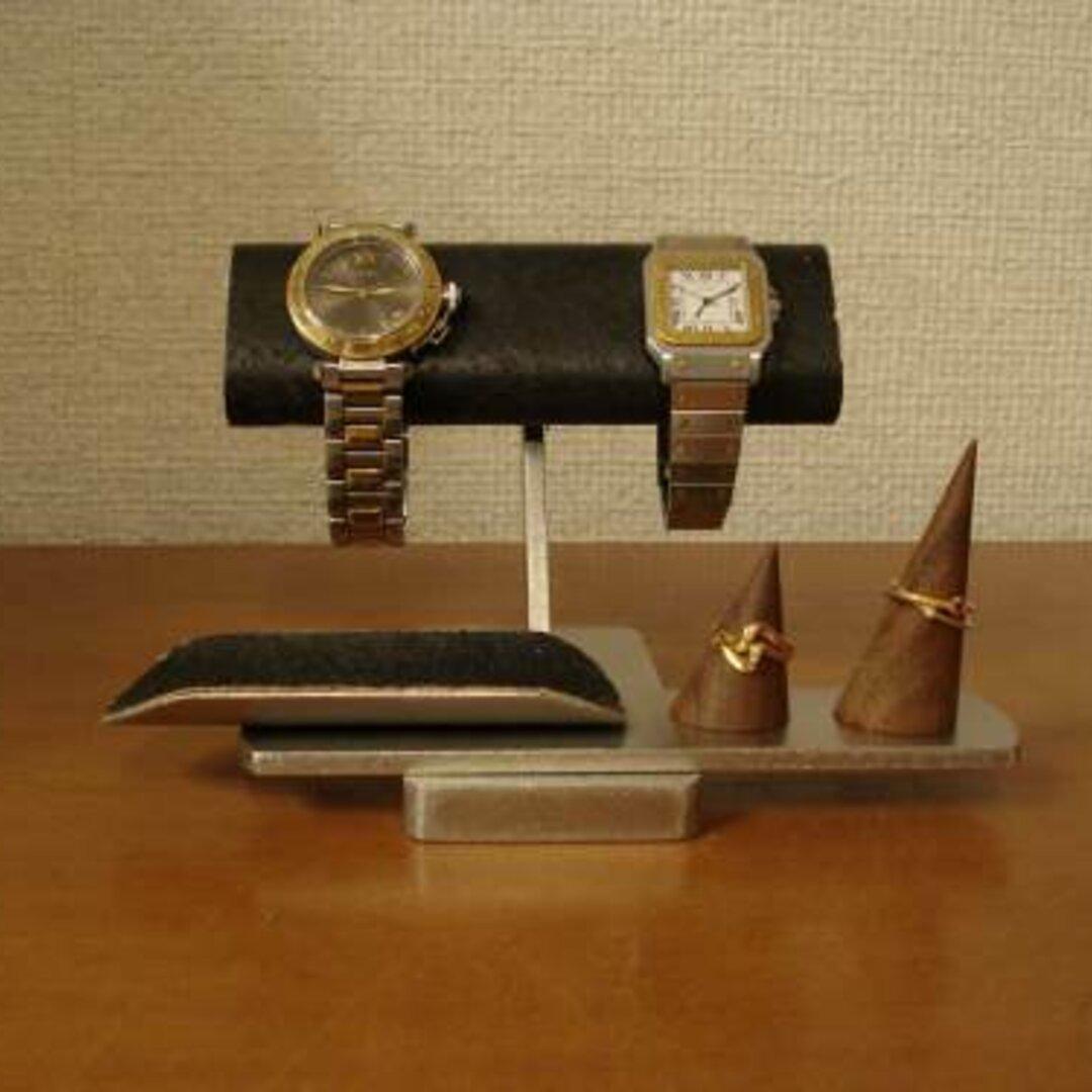 お父さんプレゼントに 腕時計 飾る ブラック腕時計&リングスタンド 受注販売 No.120816
