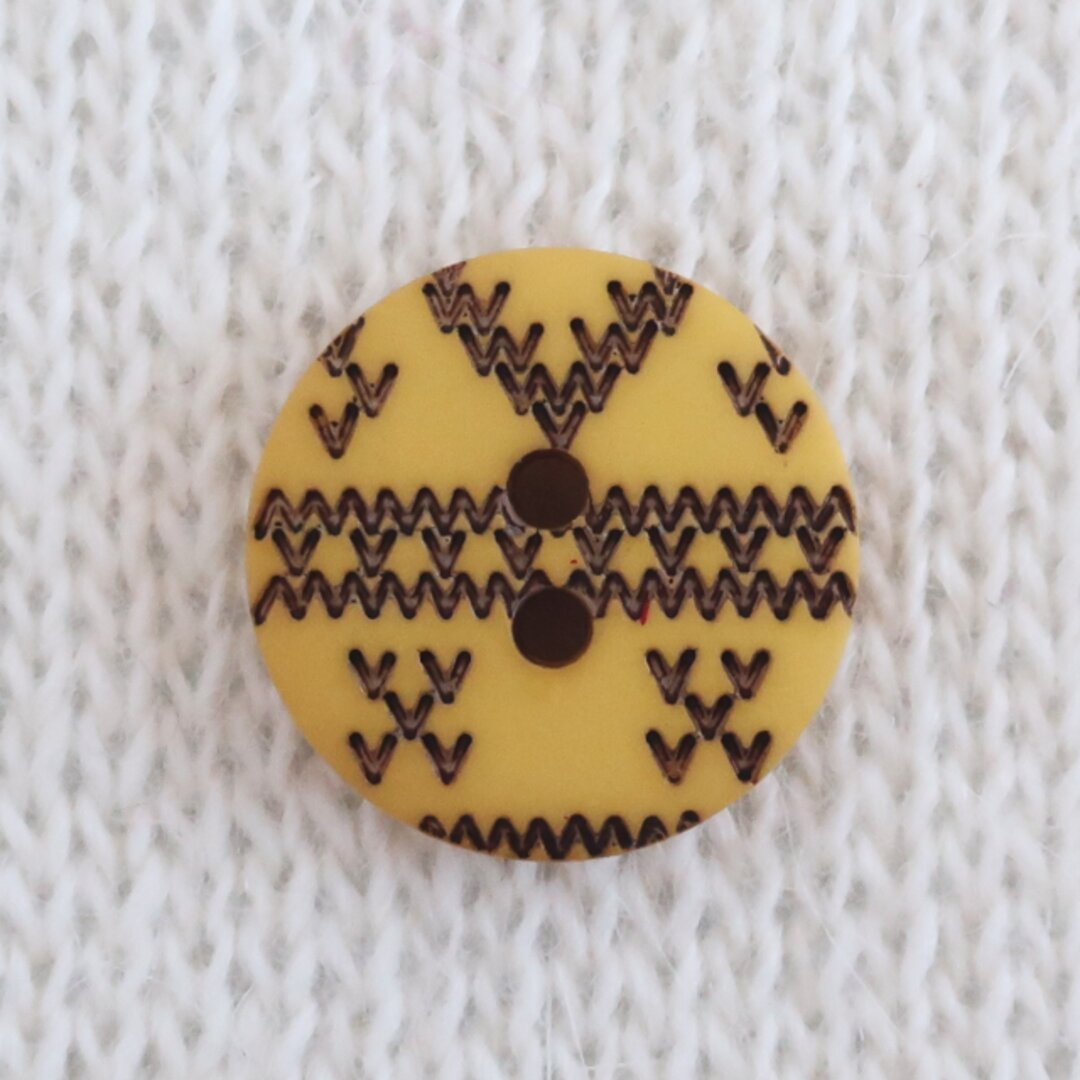 編み目のボタン マスタード フランス製