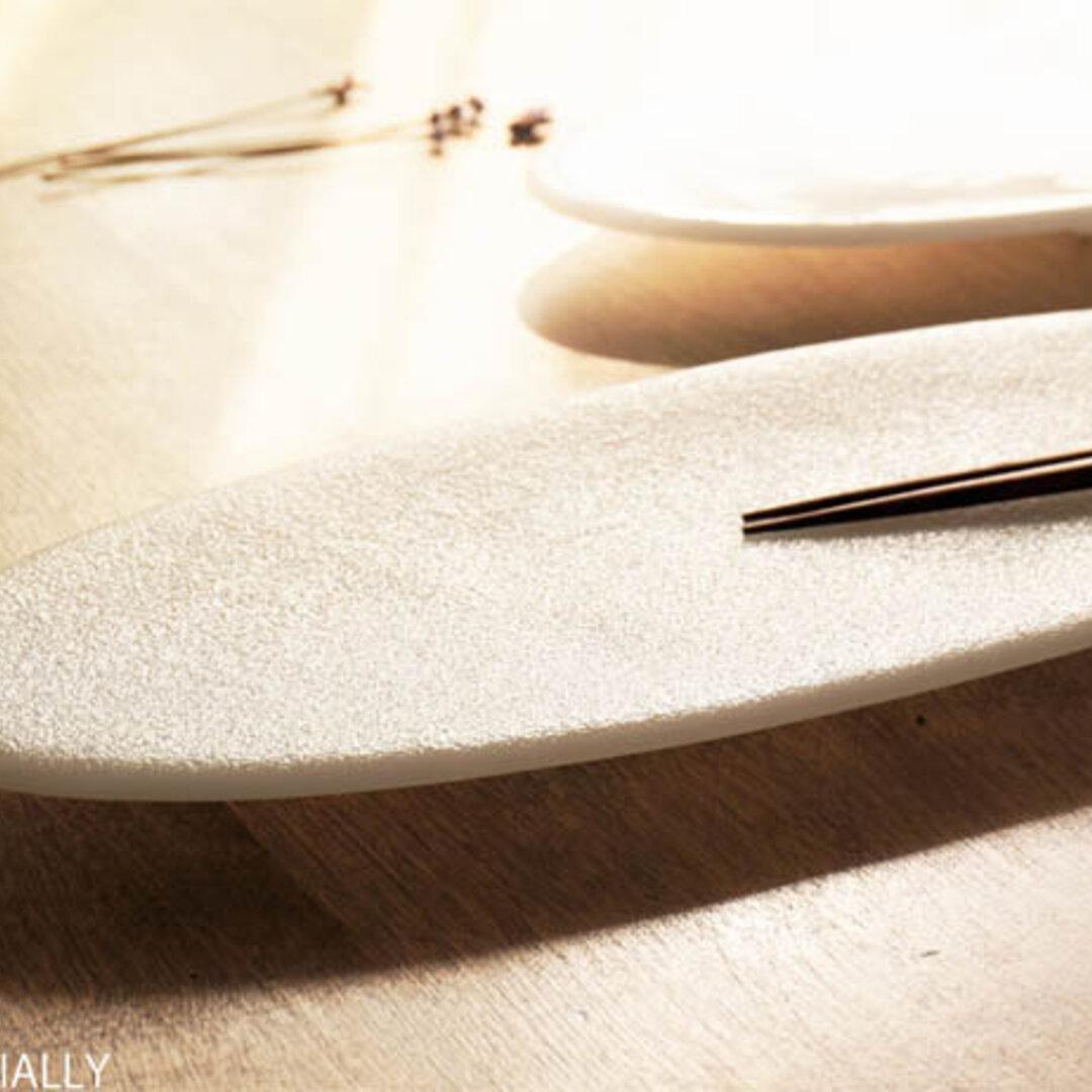 純白ガラスの器 -「 KAZEの肌 」● 37×15 (cm)・絹目調