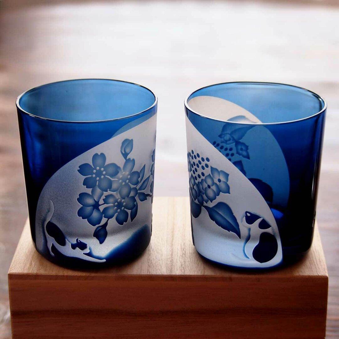 ペア猫ロックグラス「桜と紫陽花」
