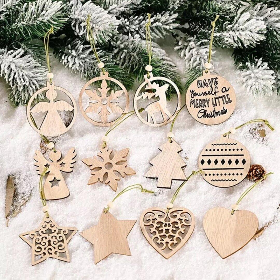 木製 北欧 クリスマス オーナメント ウッド  クリスマスツリー  木 飾り 12個セット
