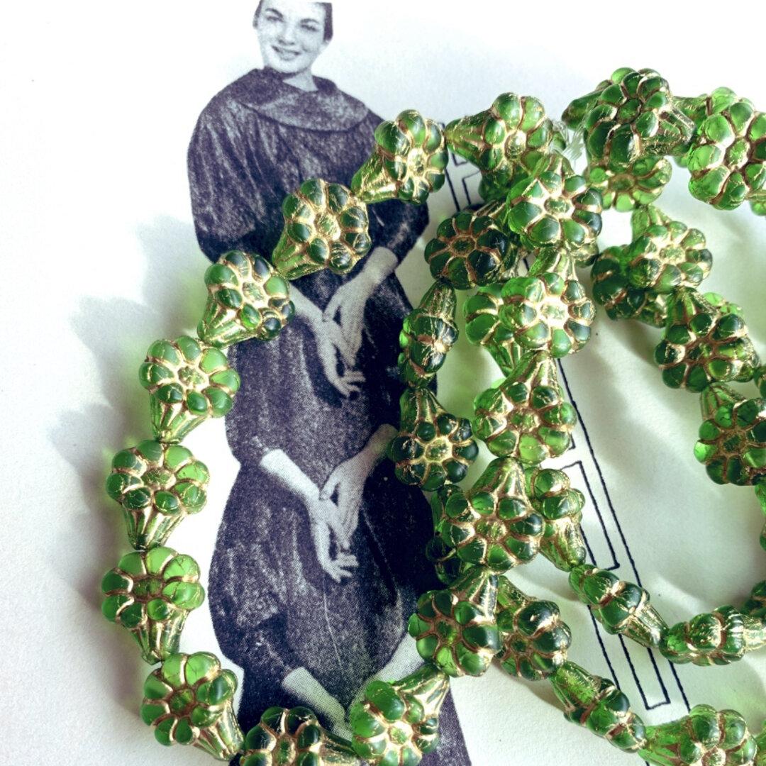 【10コセット】JIRI*IVANA#czech beads#チェコビーズflower13✖️11㎜ peridot green/bronze