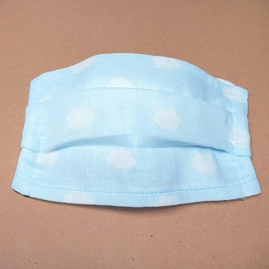 プリントマスク★Sサイズ2枚組★ ポケット式★5才~大人(15×10cm)★綿100%ブルーに白い雲★送料無料