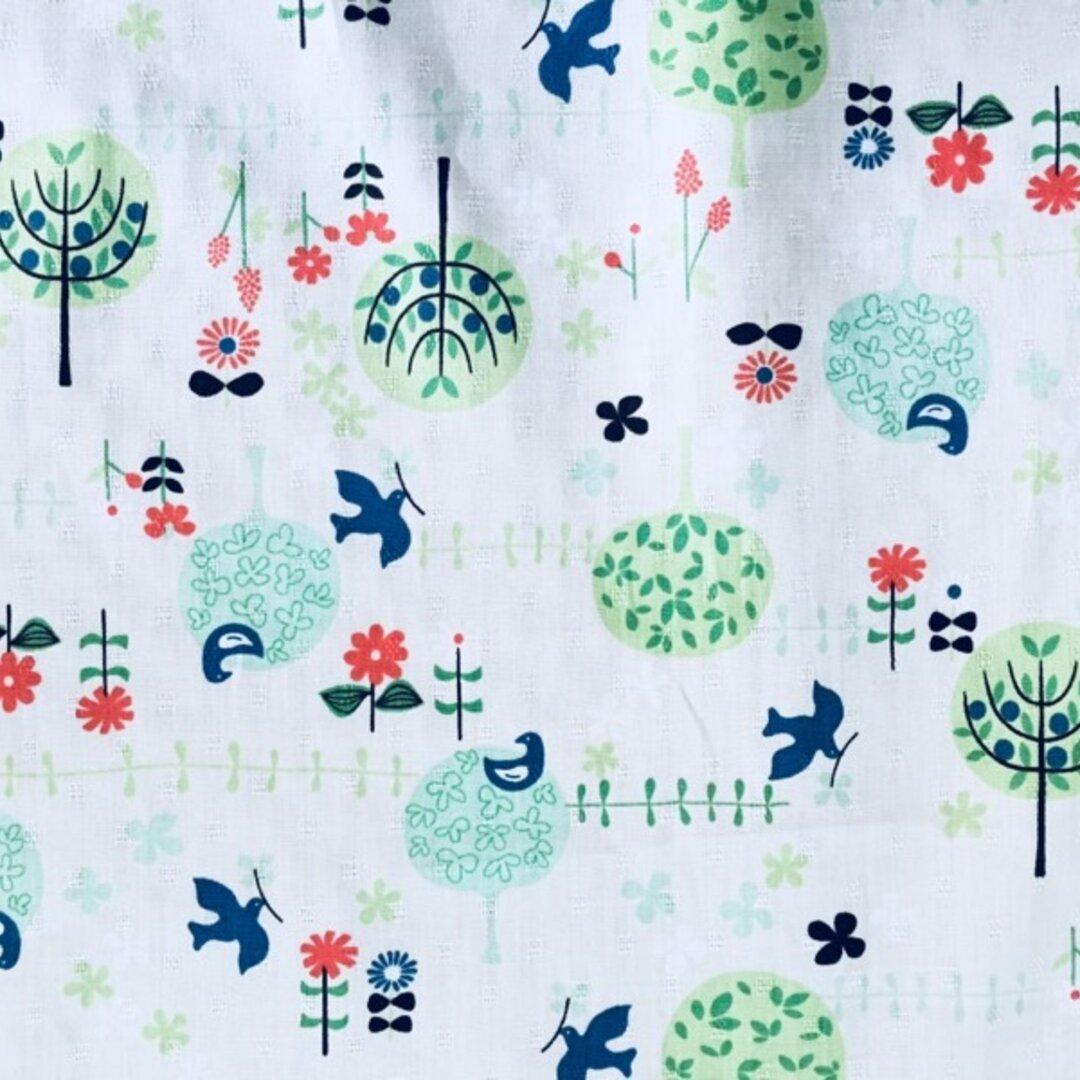 ★SALE★【幅110×100】ドビークロス 森の歌う小鳥 グリーン