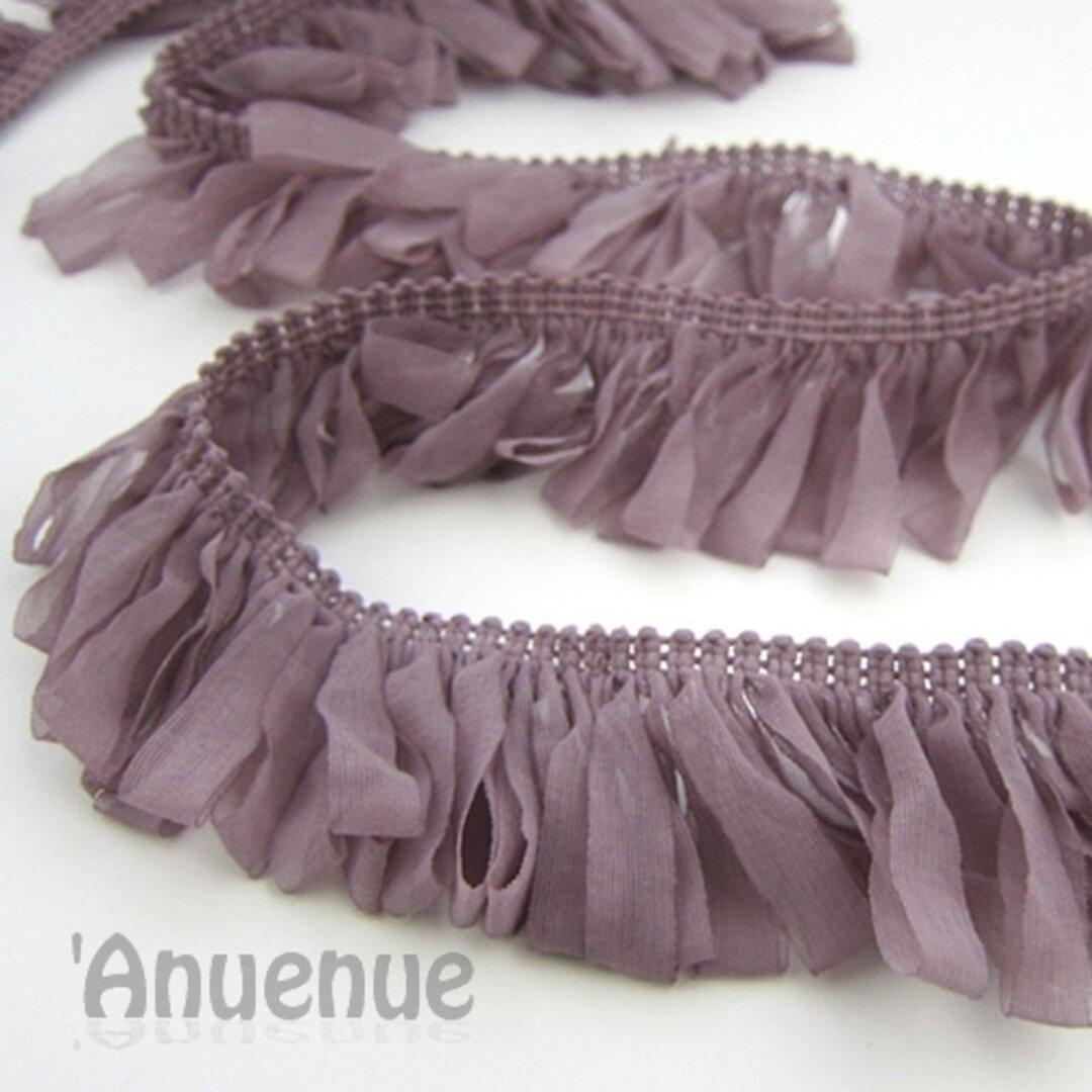 シフォン ループフリンジリボン(Lavender / ラベンダー)×50cm