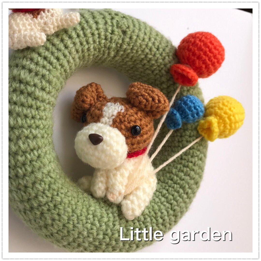 Little garden あみぐるみリース 犬 ジャックラッセル L-08