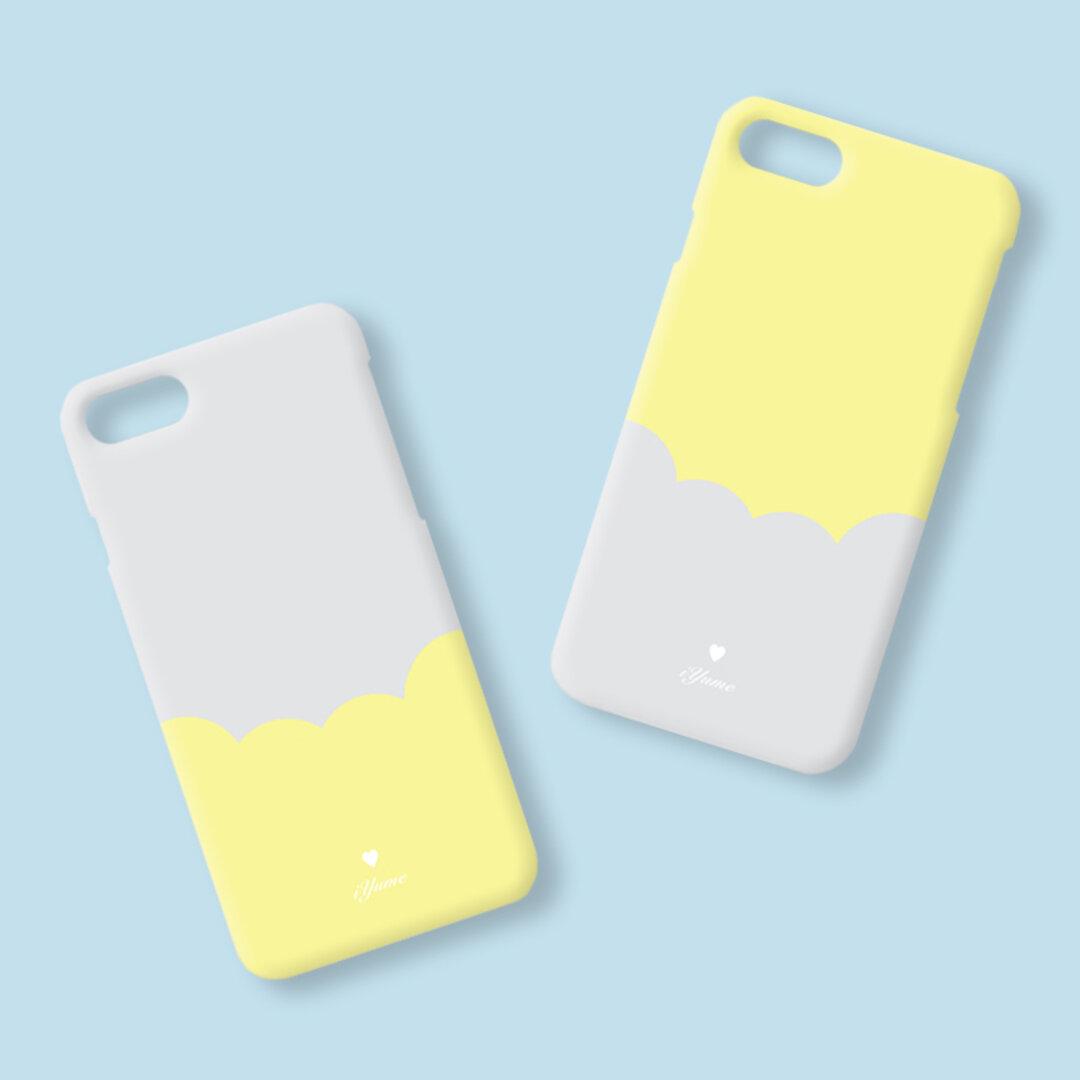 【特集掲載】バイカラー*グレー×イエロー 名入れ ハードケース iPhoneXR XS Max XS X 8 8Plus 7 7Plus SE Xperia Galaxy ARROWS スマホケース