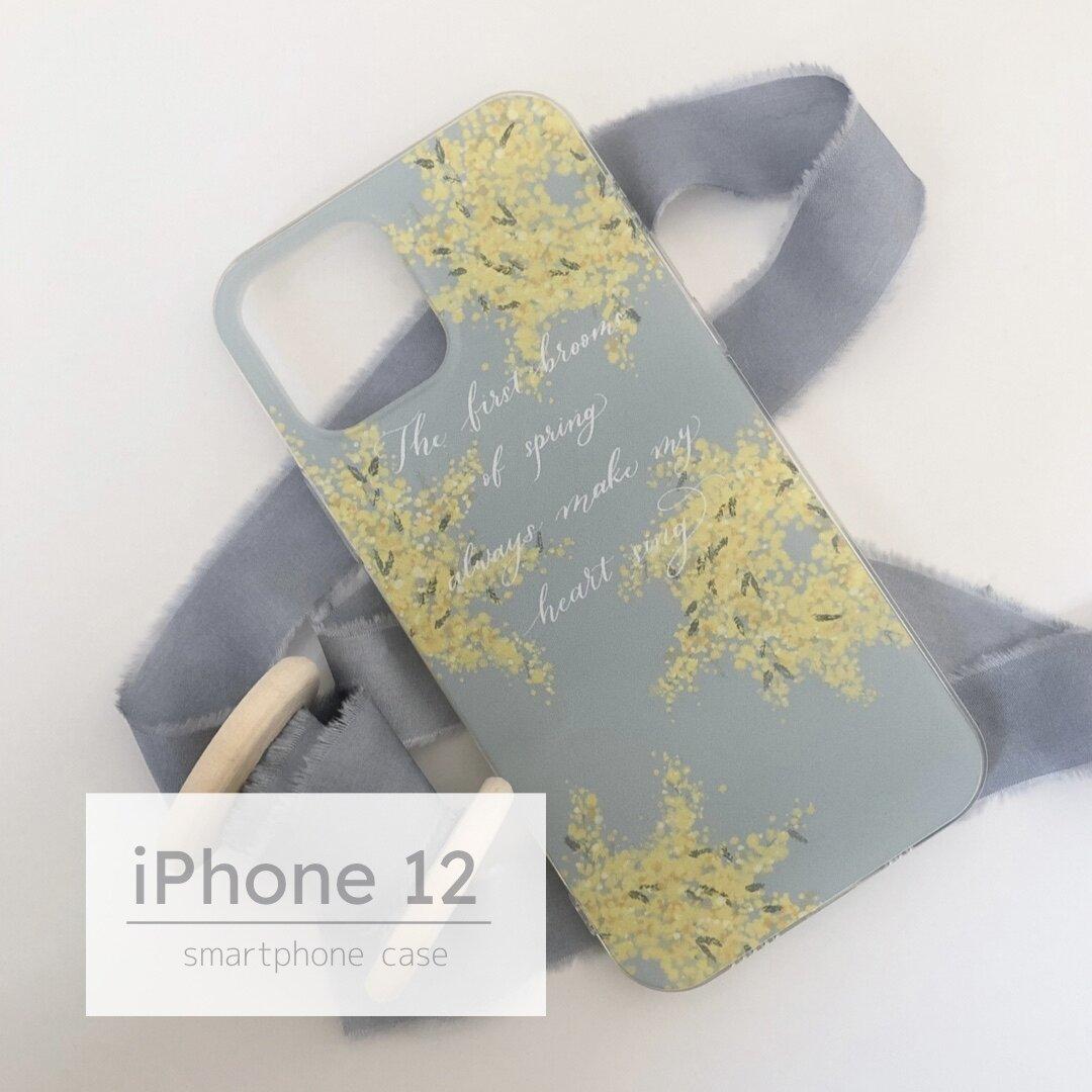 iPhone12用ソフトケース ミモザ×パステルブルー