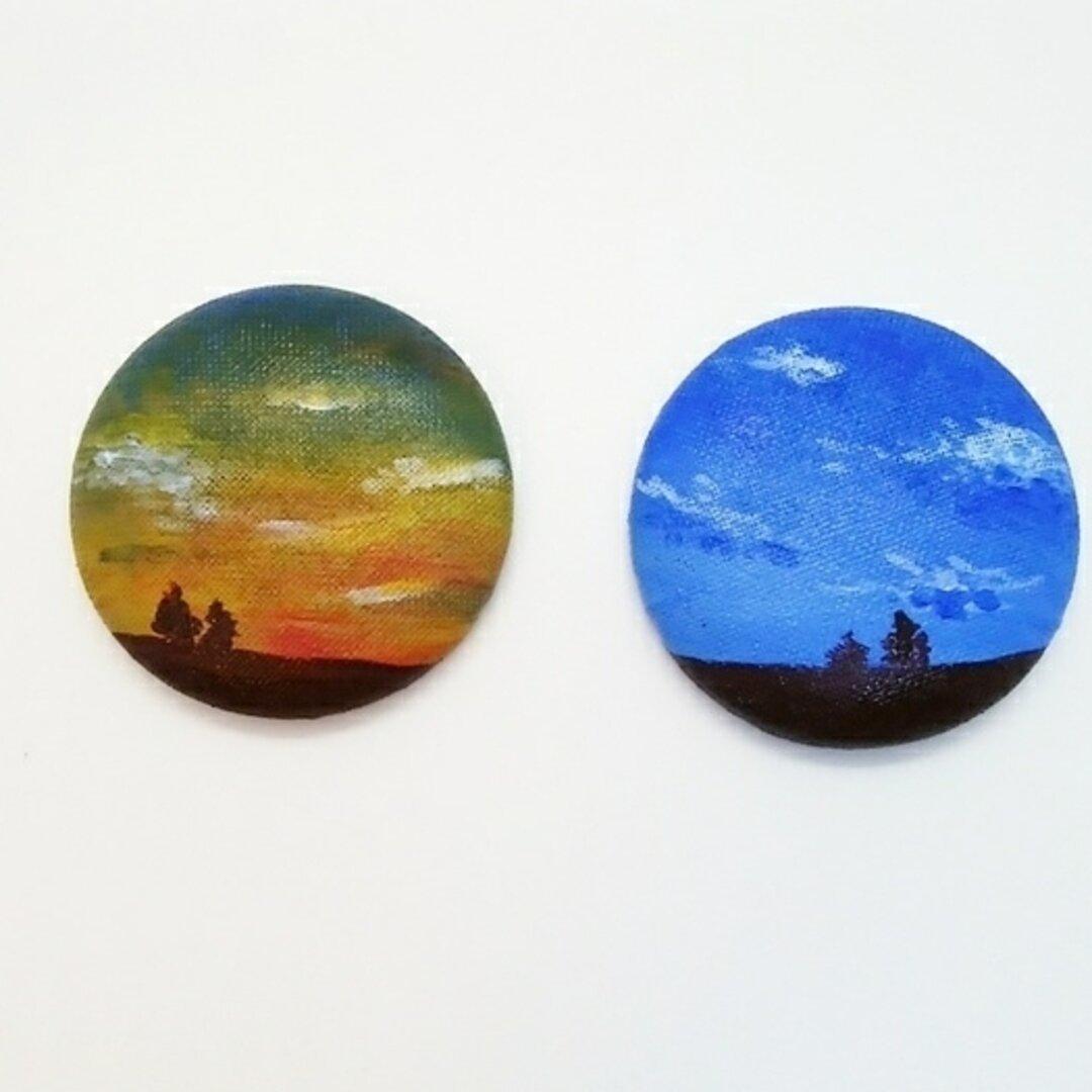 送料無料☆直径3.8cmの美術館 夕焼け空と青空♯2