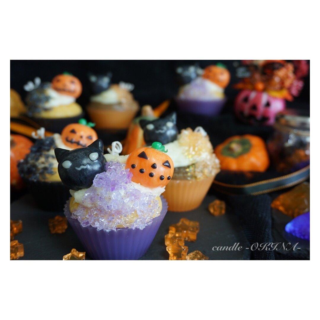 ハロウィンキャンドル《Halloween cupcake candle》Pumpkin*Blackcat