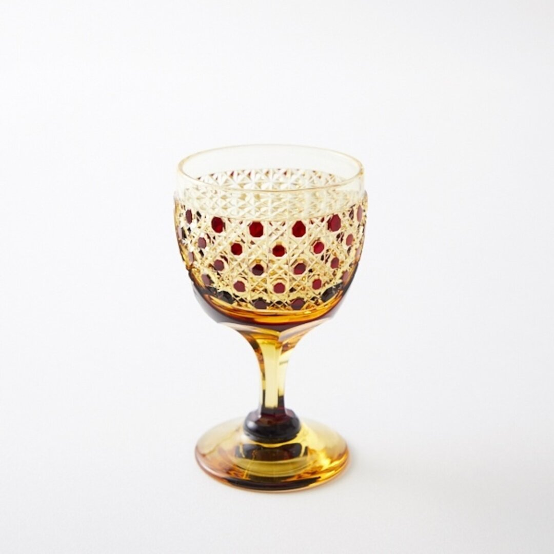 江戸切子の販売店 送料無料 無料包装 江戸切子の店 琥珀色赤被せ食前酒クリスタルガラス
