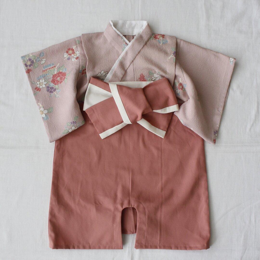 牡丹と椿模様の着物×モーブピンク袴