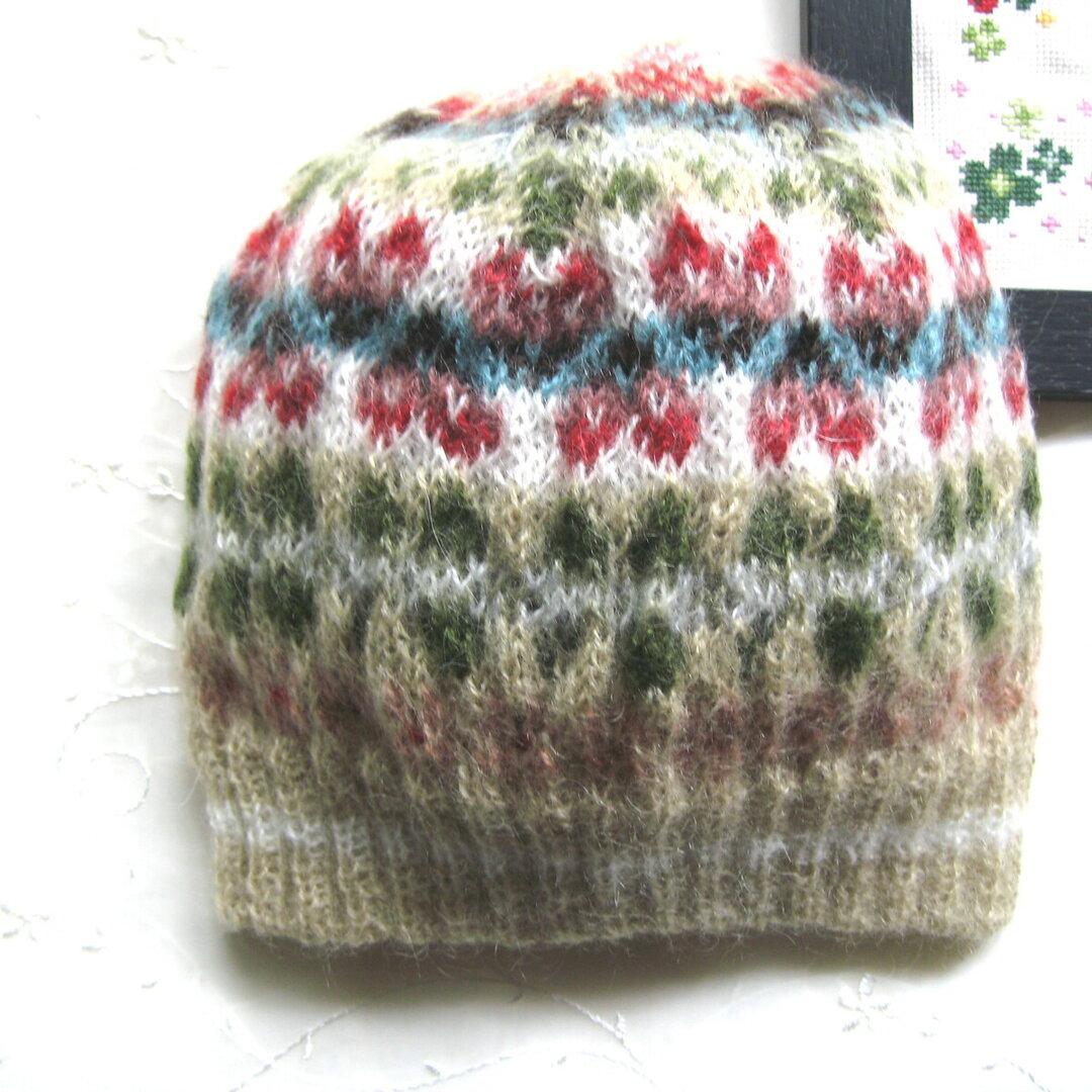 【アルパカモヘア】軽くてあったか🐈もふもふフェアアイルニット帽❅ハート💖とクローバー🍀