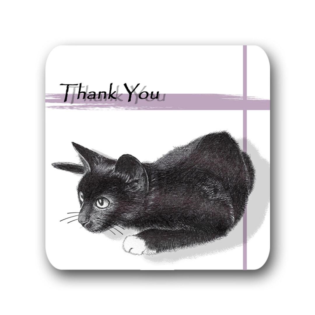 【猫のサンキュー メッセージカード タグ 正方形 スクエアカード】黒猫デザイン-パープル