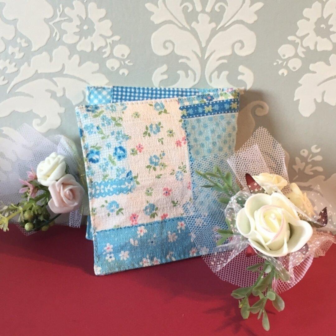 送料無料◆サニタリーケース◇ブルー小花パッチ柄◆