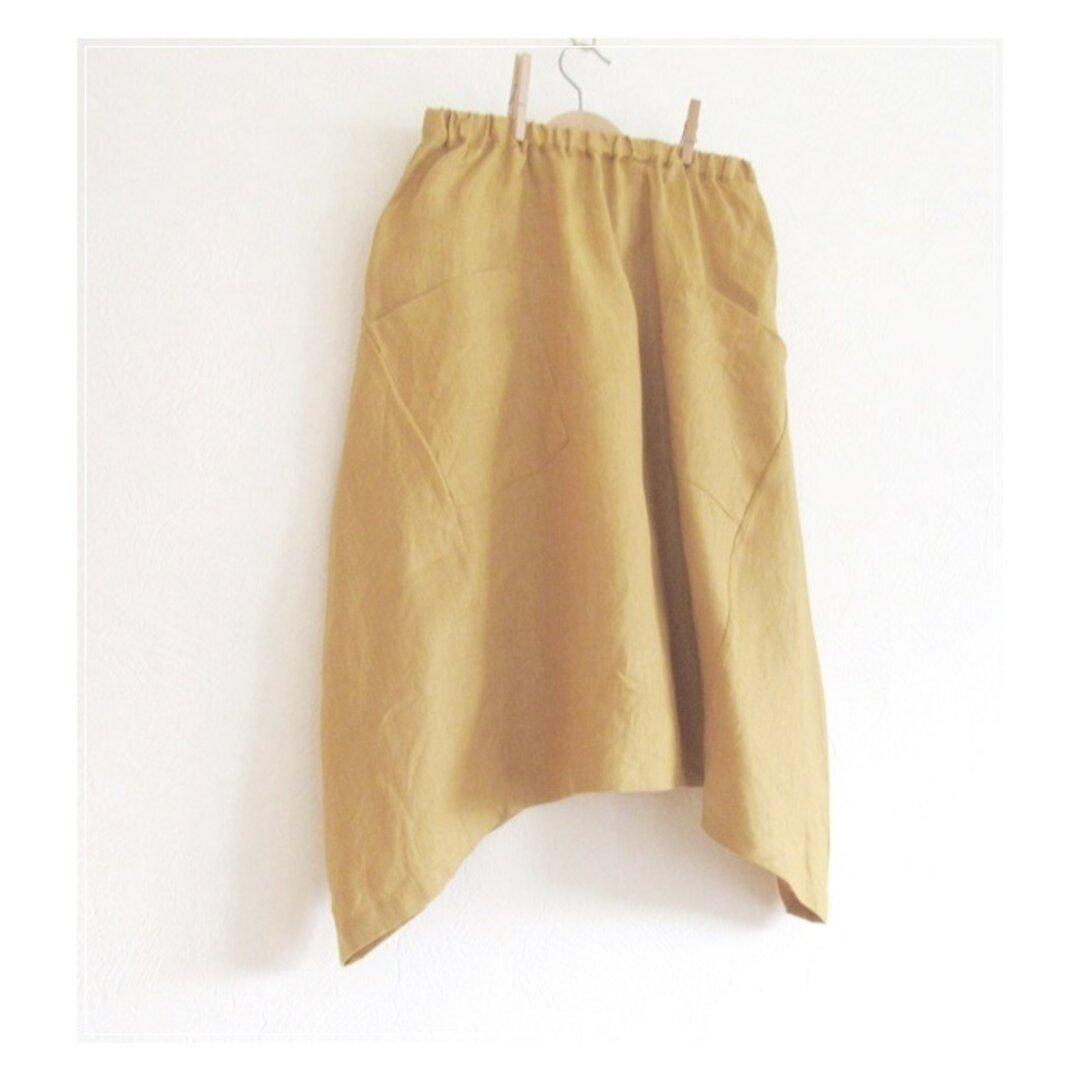 マスタード* リネンのヘムラインバルーンスカート
