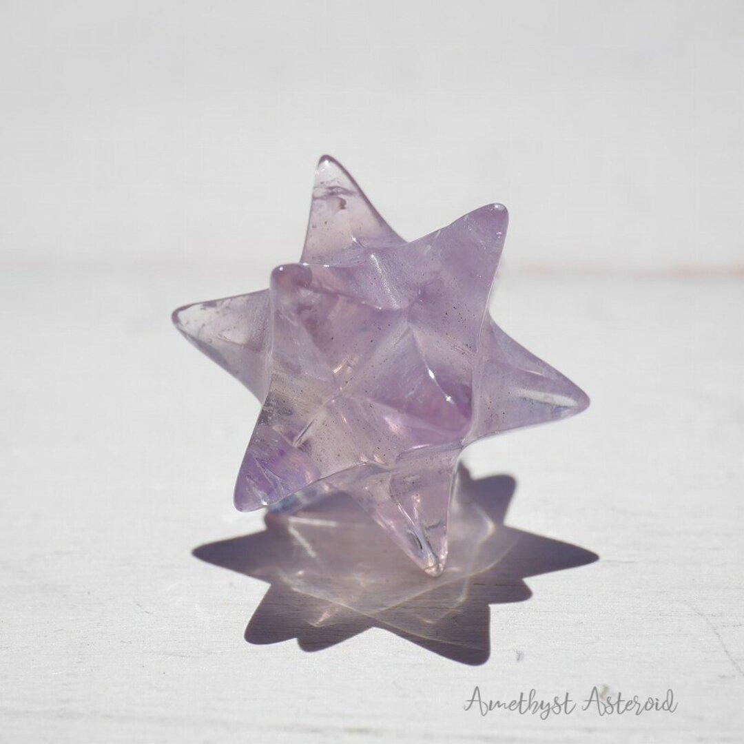 天然石 紫水晶アステロイド小星型12面体 約4.3g約22mm(ブラジル産)五芒星六芒星正十二面体クリスタル ラベンダーアメジスト 鉱石アクセサリー鉱物テラリウム素材[aast-210910-02]