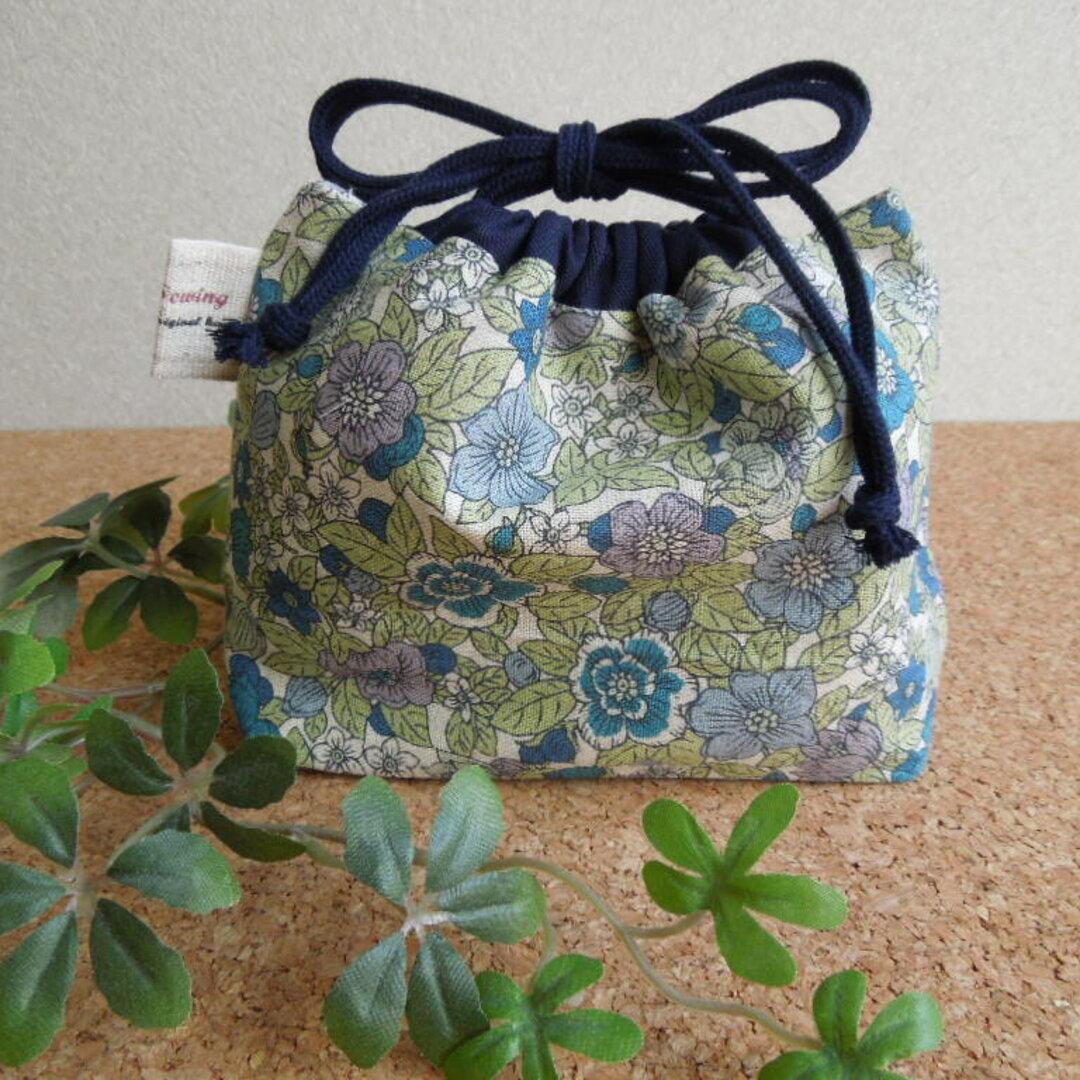 [送料無料] ミニ巾着 小花柄 ブルー    61