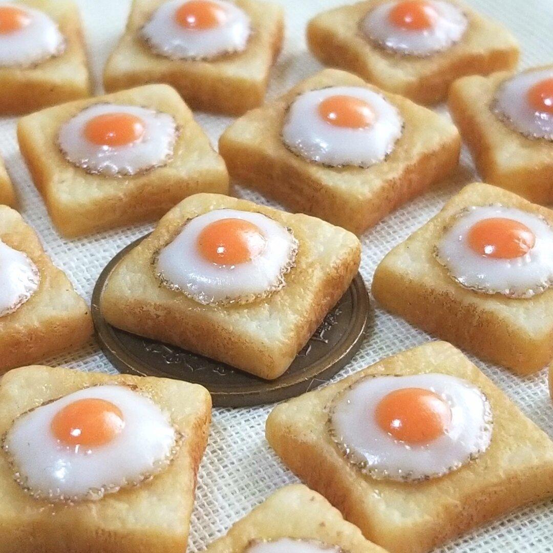 ( 受注製作 ) 大好評中 ♡目玉焼きのせトースト (パン,ミニチュアフード,フェイクフード,食品サンプル)