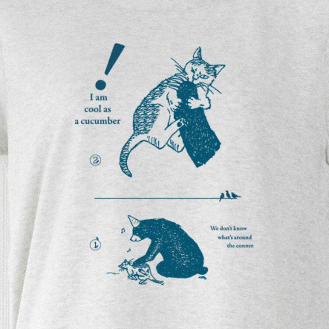 猫と熊 Tシャツ オートミール(インク:紺) XL