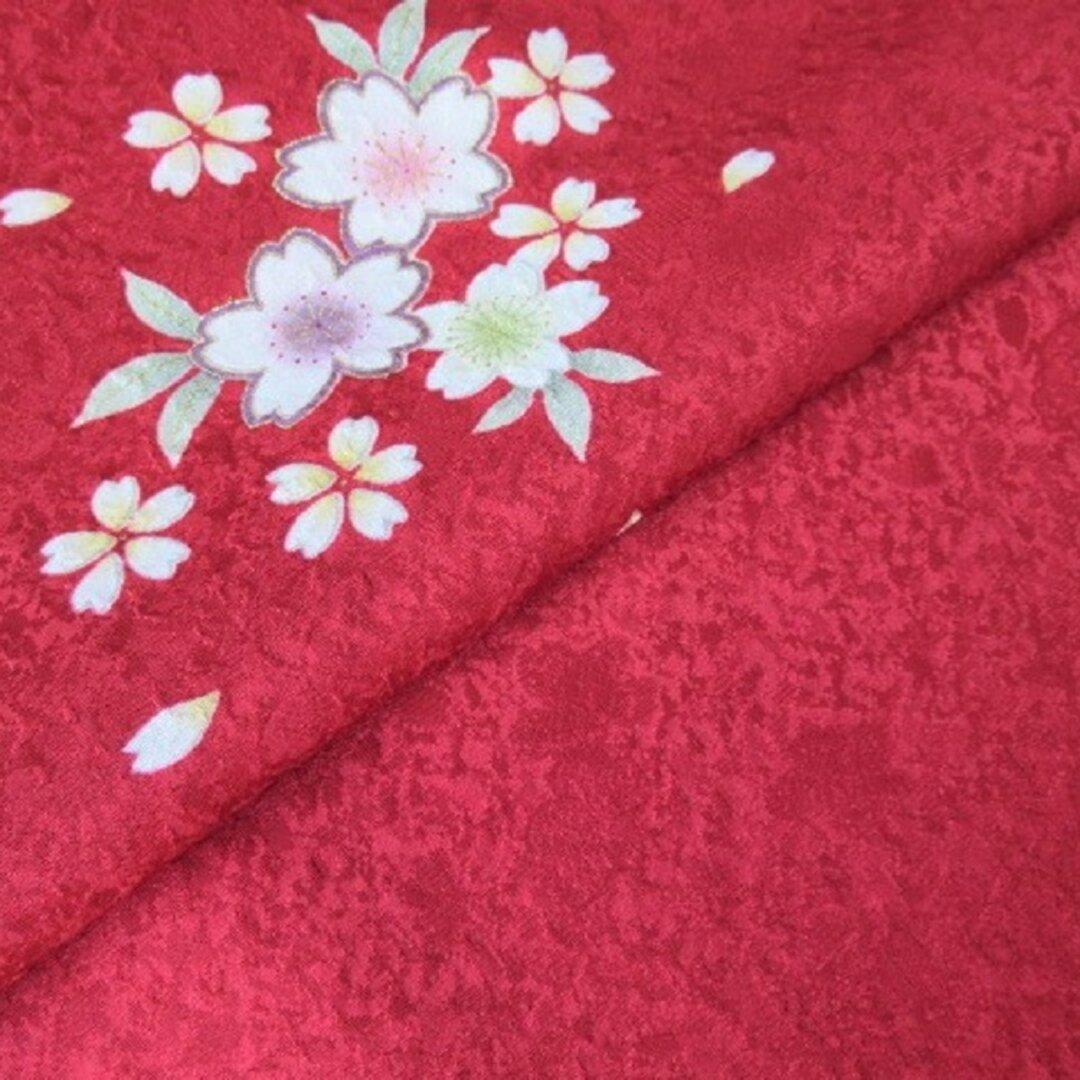 赤色 金彩 桜模様 正絹紋意匠 丹後ちりめん No.132-9 右身頃肩部分【100cm×39cm】振袖の解き 和布 リメイク素材 silk100%