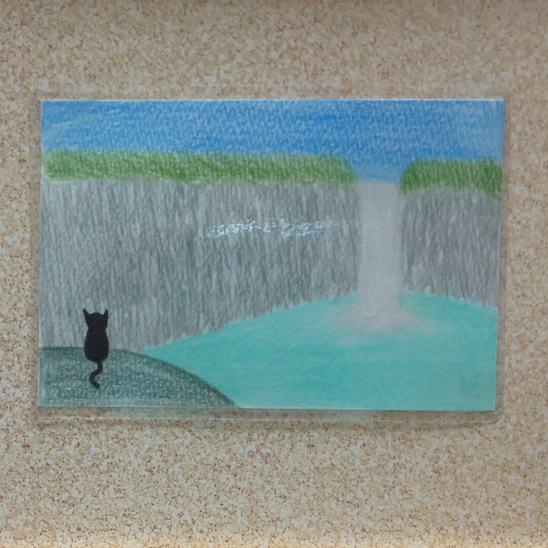リンちゃん、滝をみる