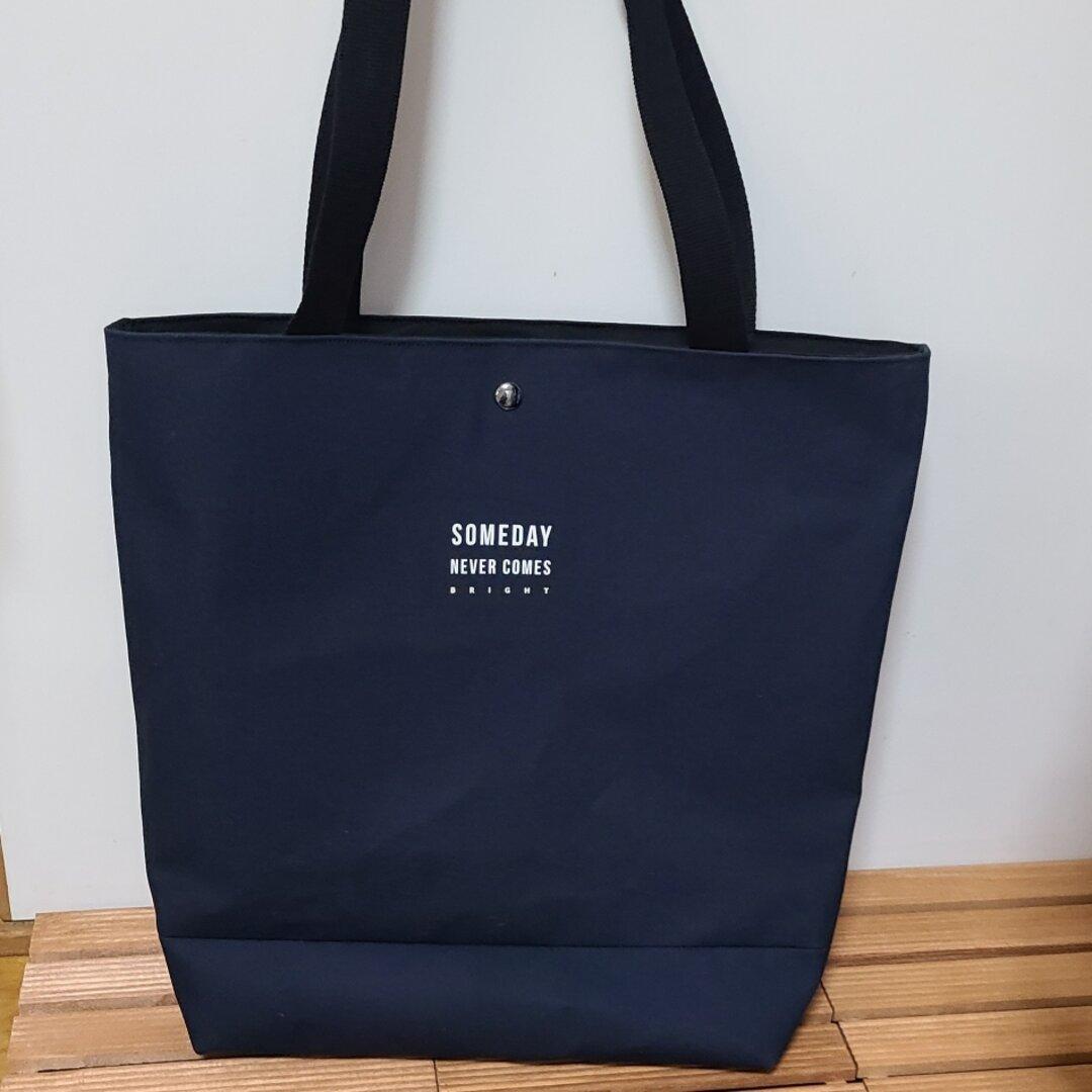 【新作】ハンサムタグ付き♡大人ネイビー☆帆布の大きめトートバッグ♡※タグは様々。