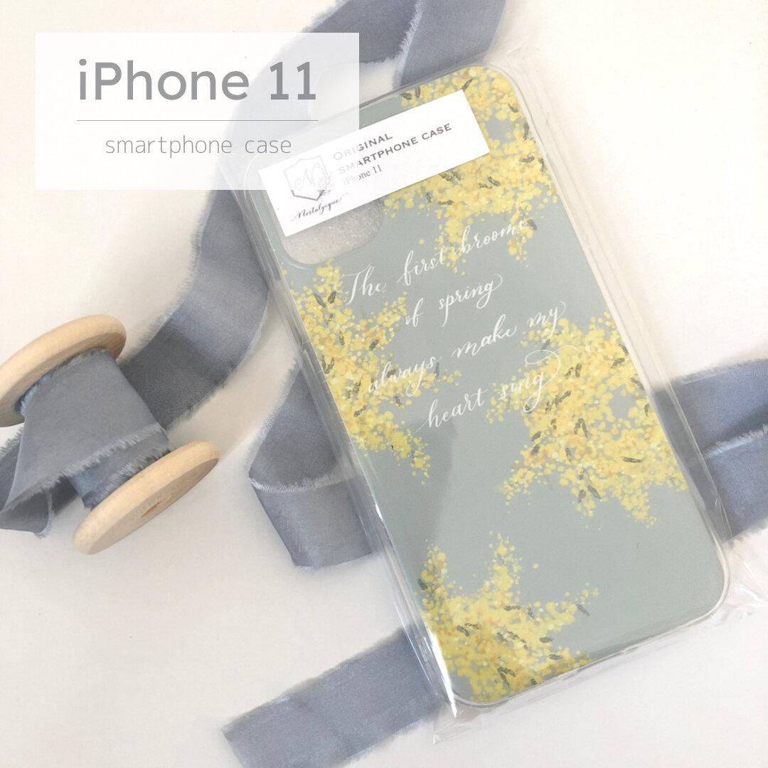 iPhone11用ソフトケース ミモザ×パステルブルー