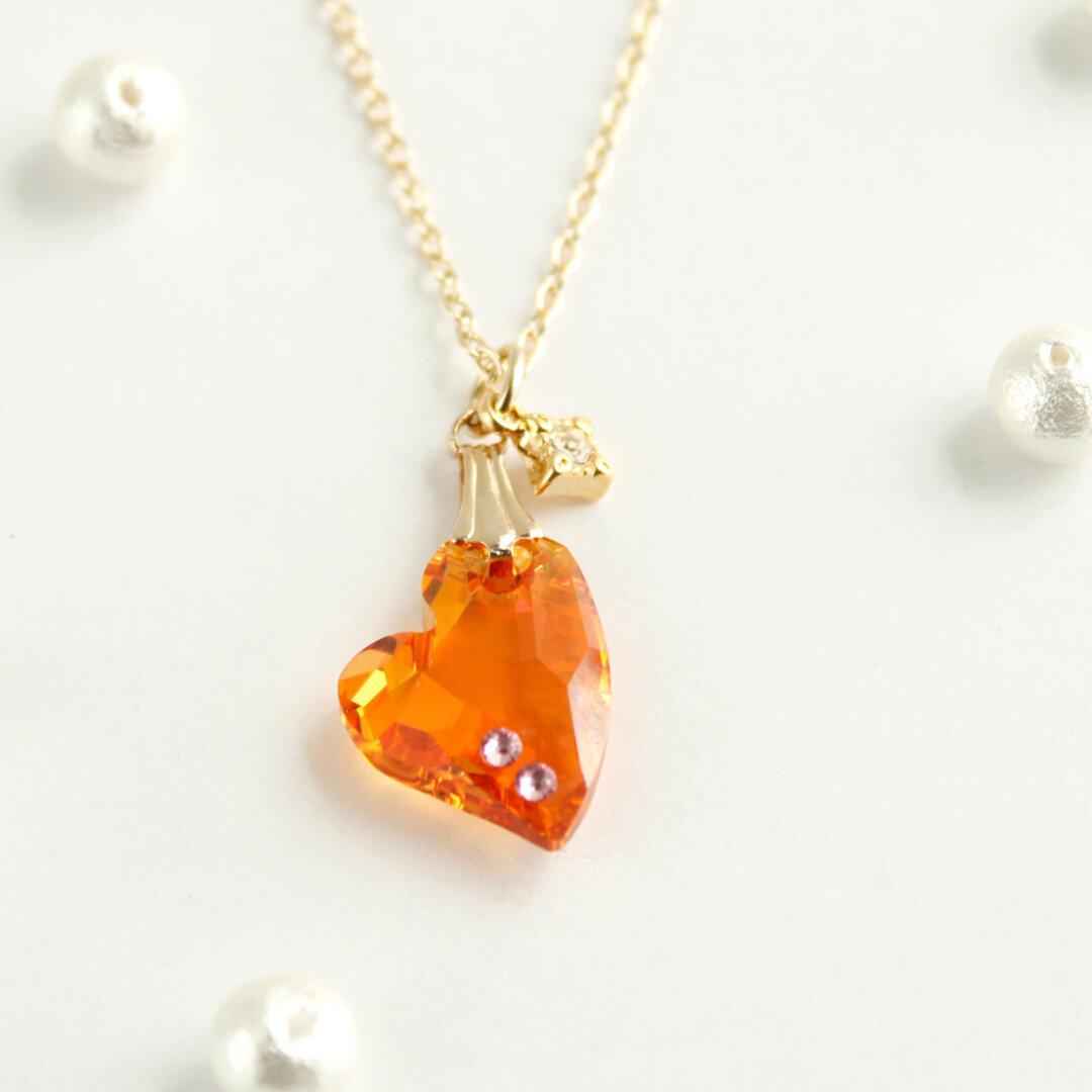 【再販なし】Swarovski crystal使用  ハートのネックレス(アストラルピンク)