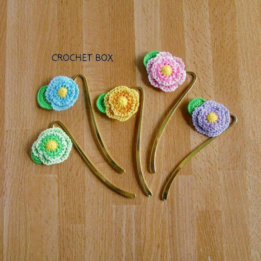 かぎ針編み♦お花のブックマーカー