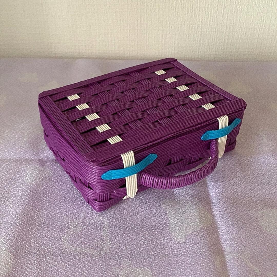 ミニサイズ トランク型小物入れ 紫