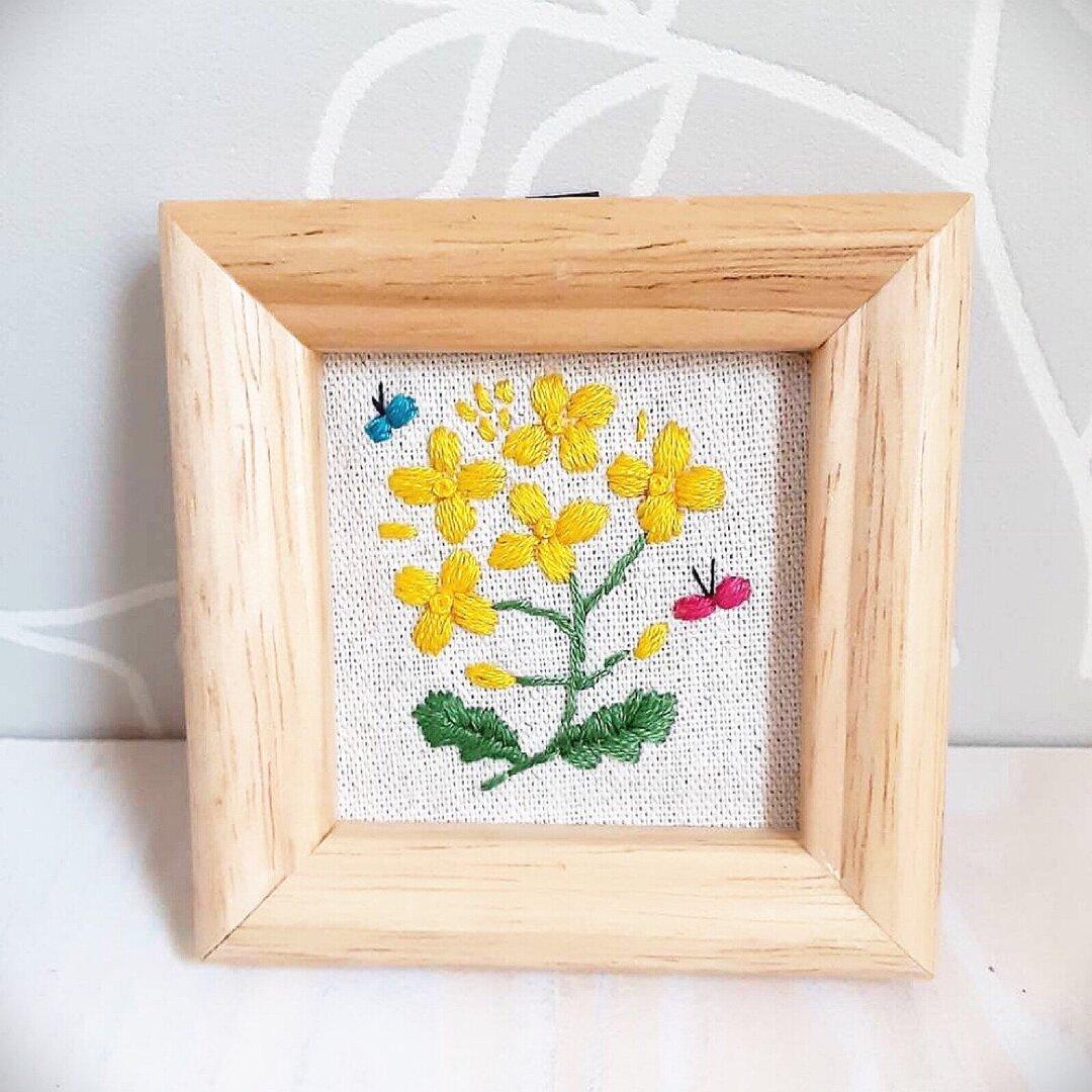 刺繍フレーム🌻菜の花 お花の刺繍 壁飾り インテリア雑貨