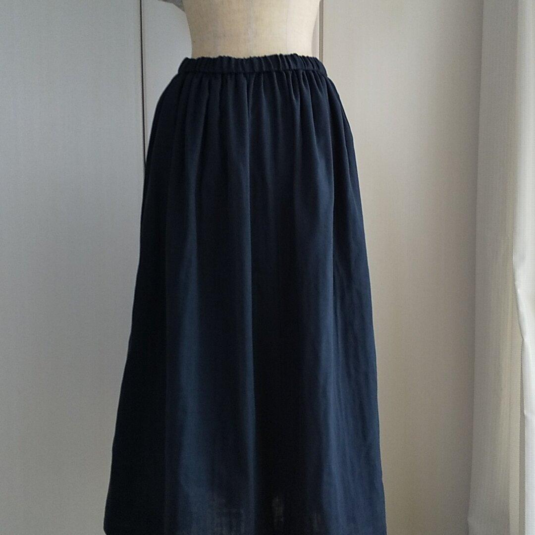 ダブルガーゼギャザースカート紺色