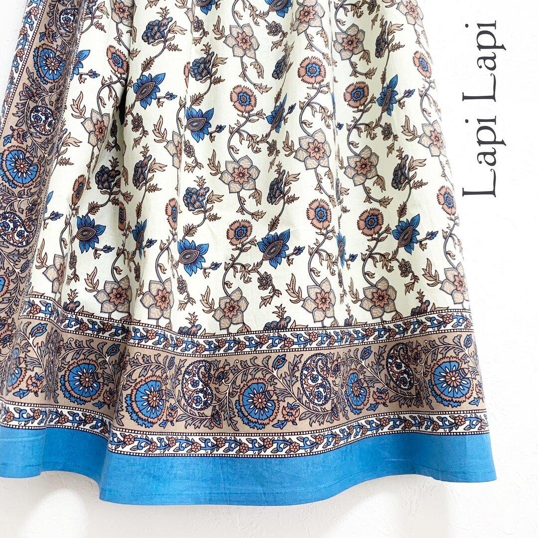 【新作】インド綿ギャザースカート シアン