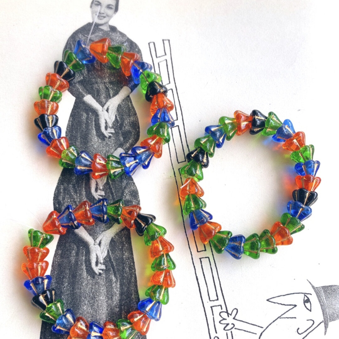 SALE【1連25コセット】JIRI*IVANA#czech beads#チェコビーズbell flower10✖️6㎜ mixassort/bronze