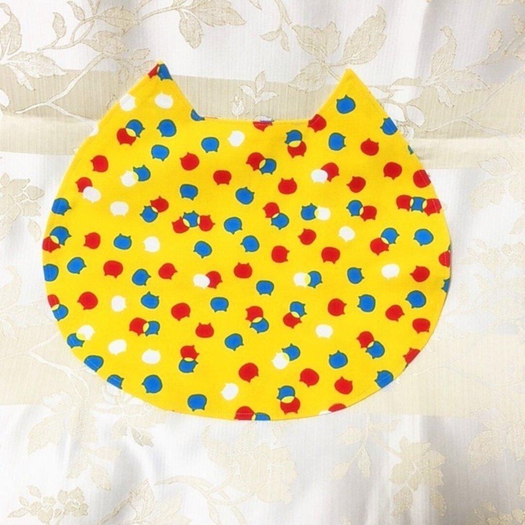 """ネコ型ランチョンマットミニ """"ねこのみみ"""" にゃんチョンマット ねこたま模様 黄色"""