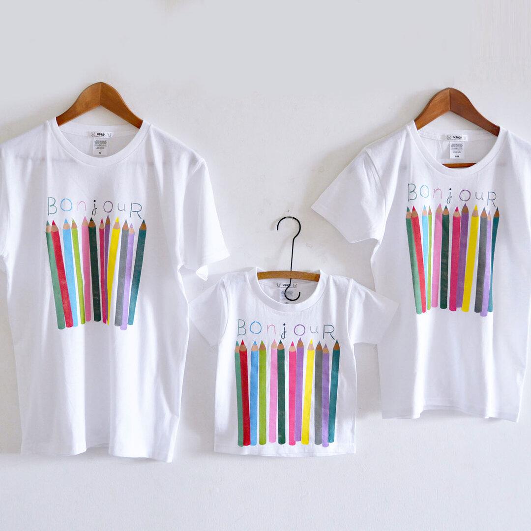 親子3人お揃い色えんぴつTシャツセット 親子おそろいコーデ  ホワイト