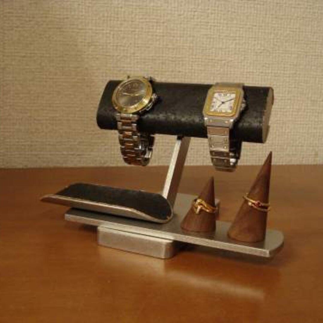 プレゼントに!ブラック腕時計&リングスタンド 受注販売 No.120816