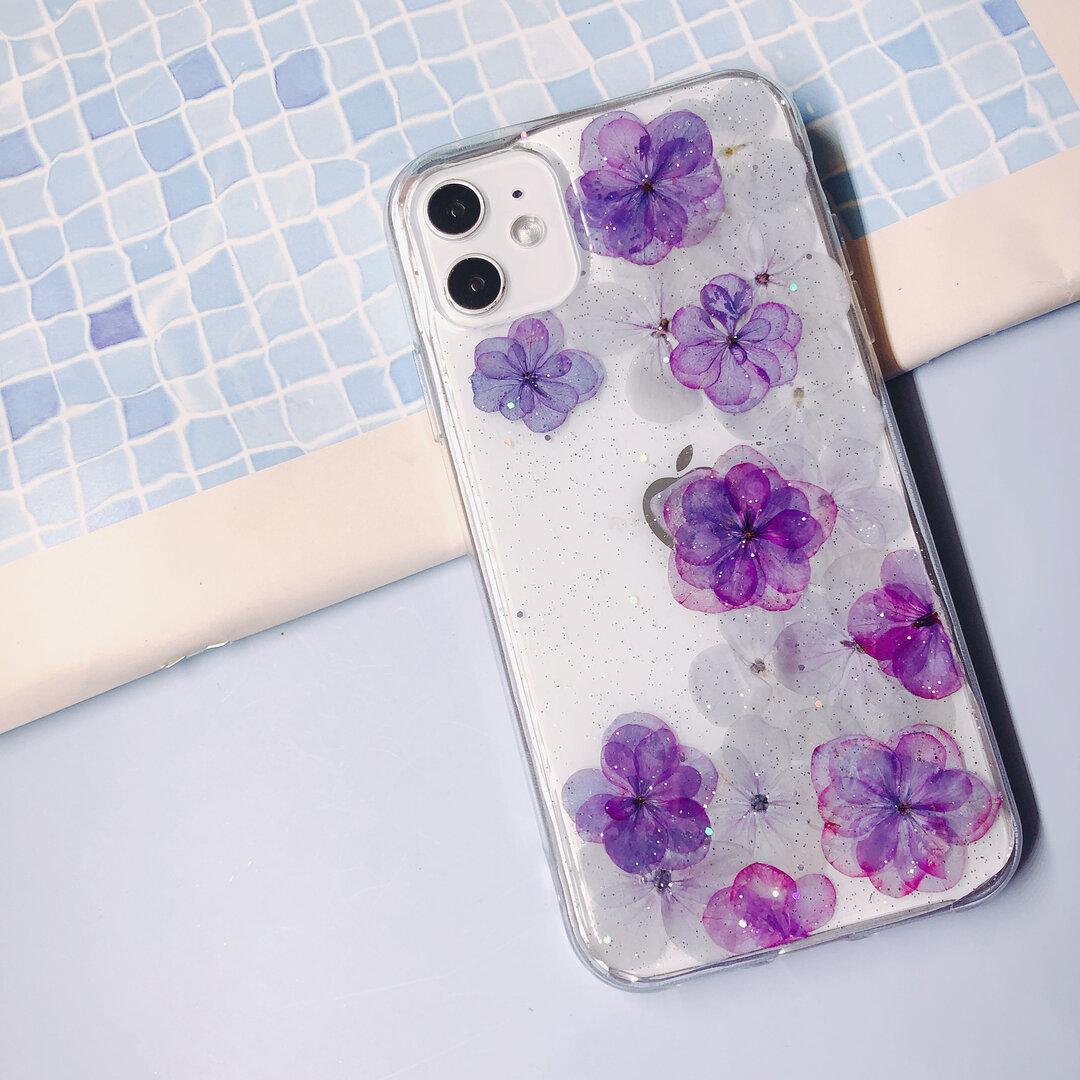 紫陽花 スマホケースiphone ケース押し花  iPhone12mini/iPhone11ProMax/iPhoneSE2/iPhone8 Galaxy S9+ Xperia XZ1  全機種対応