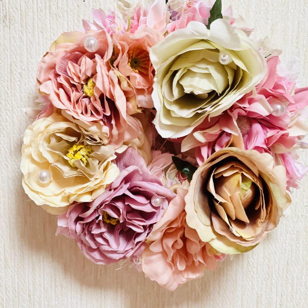 くすみピンク フラワーリース