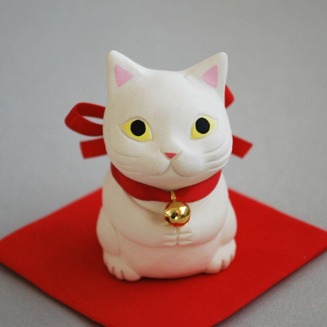 願い猫(白猫)【受注制作】ご注文前には必ずメッセージで納期をお確かめください