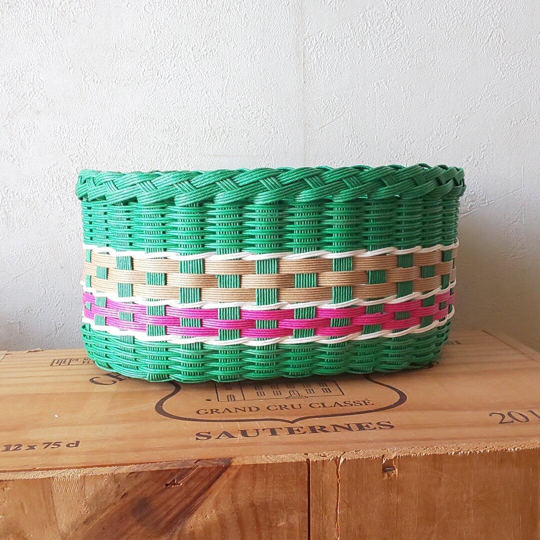 昭和レトロ  テーブルバスケット【緑色】